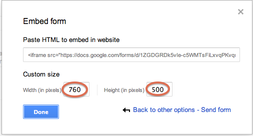 Embedding a Google form into your website