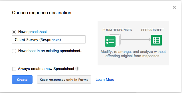 Google form response destination