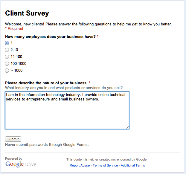 Example Google Form