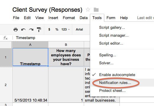 Getting notified of Google Form responses