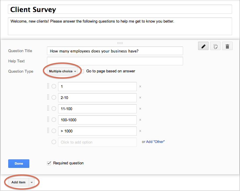 Add a question to a Google Form