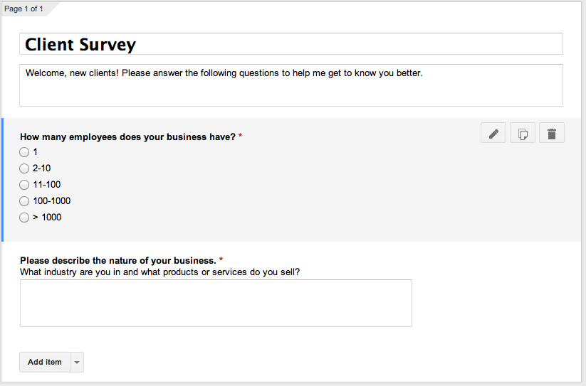A sample Google form