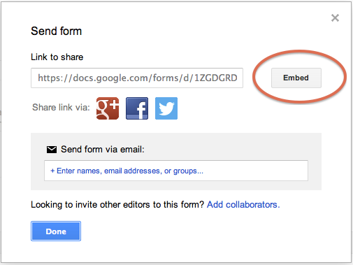 Embedding a Google Form in a webpage