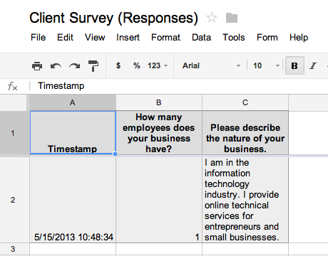 Google Form responses spreadsheet