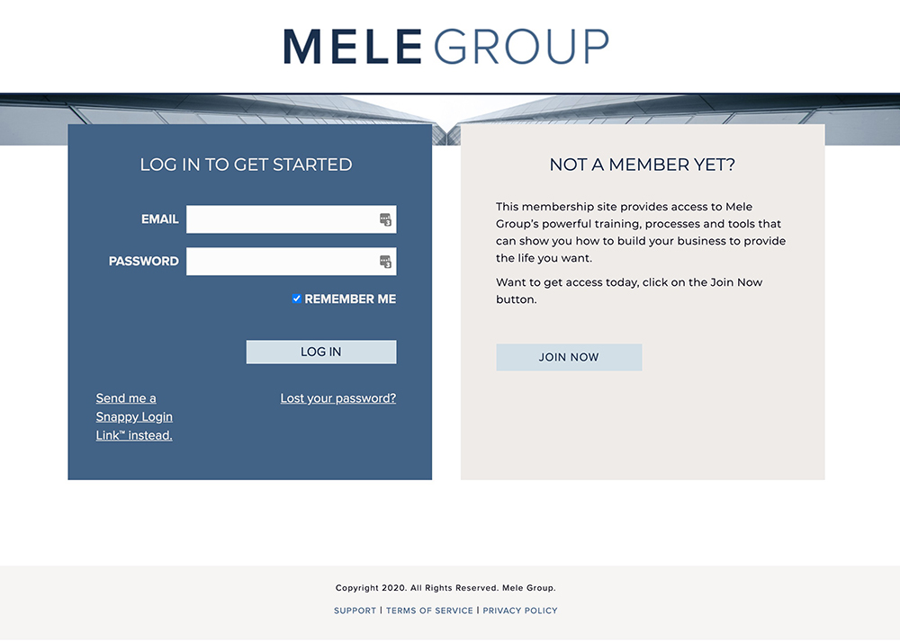 Login page of website