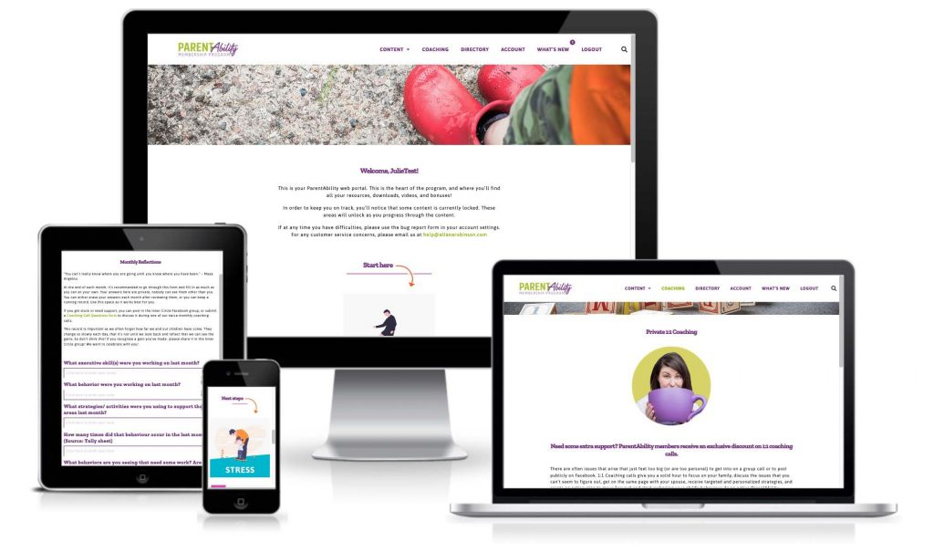 Different size screens showing the website