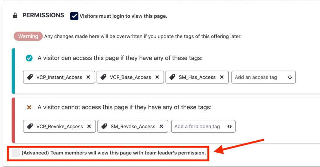 Team members will view this page with team leader's permission.